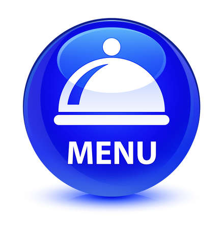 Menu (food dish icon) isolated on glassy blue round button abstract illustration Stock Photo