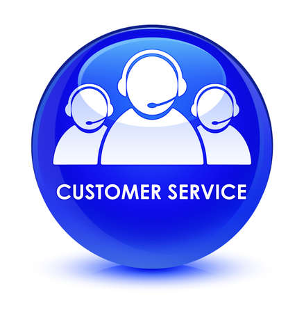 customer service representative: Customer service (team icon) isolated on glassy blue round button abstract illustration