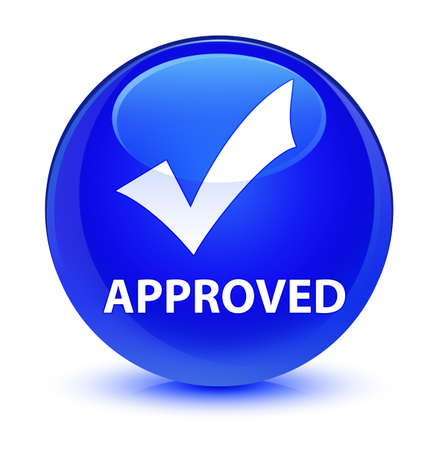 Approved (validate icon) isolated on glassy blue round button abstract illustration Stock Photo