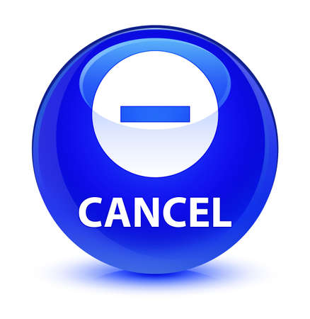 Cancel isolated on glassy blue round button abstract illustration Stock Photo