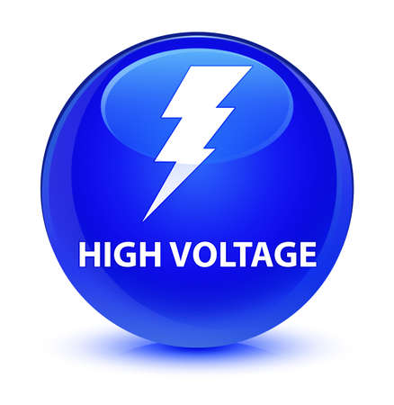 danger: High voltage (electricity icon) isolated on glassy blue round button abstract illustration Stock Photo