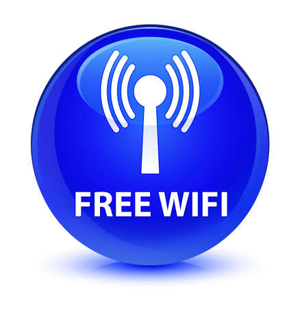 wireless: Free wifi (wlan network) isolated on glassy blue round button abstract illustration