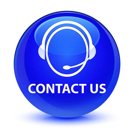 customer service representative: Contact us (customer care icon) isolated on glassy blue round button abstract illustration Stock Photo