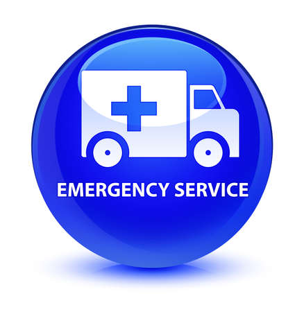 truck: Emergency service isolated on glassy blue round button abstract illustration
