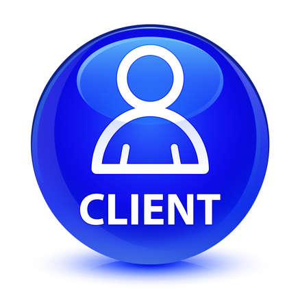 Client (member icon) isolated on glassy blue round button abstract illustration