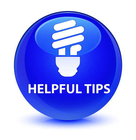 Helpful tips (bulb icon) isolated on glassy blue round button abstract illustration