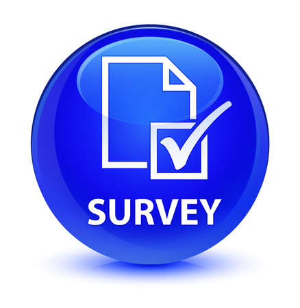 reviews: Survey isolated on glassy blue round button abstract illustration Stock Photo