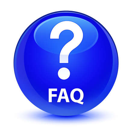 Faq (question icon) isolated on glassy blue round button abstract illustration Stock Photo