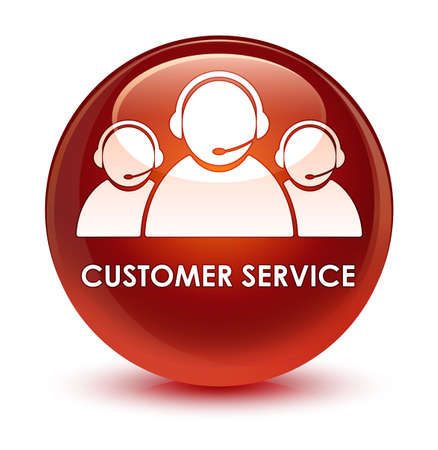 customer service representative: Customer service (team icon) isolated on glassy brown round button abstract illustration Stock Photo