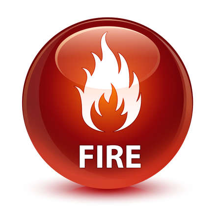 brown: Fire isolated on glassy brown round button abstract illustration