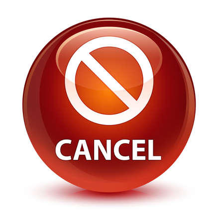 Cancel (prohibition sign icon) isolated on glassy brown round button abstract illustration Stock Photo
