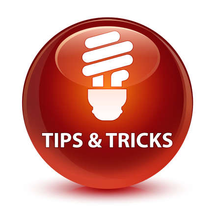 Tips and tricks (bulb icon) isolated on glassy brown round button abstract illustration