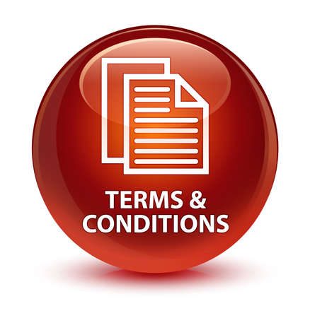 Terms and conditions (pages icon) isolated on glassy brown round button abstract illustration