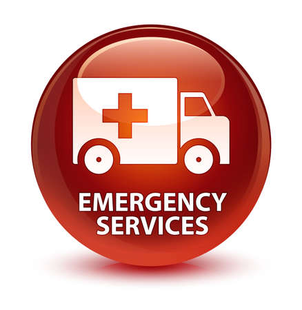 medical illustration: Emergency services isolated on glassy brown round button abstract illustration Stock Photo