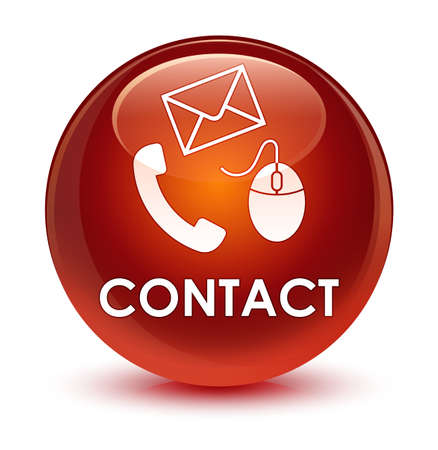 hotline: Contact (phone email and mouse icon) brown isolated on glassy round button abstract illustration