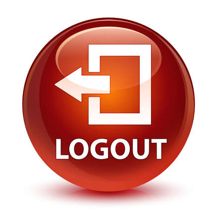 Logout isolated on glassy brown round button abstract illustration Stock Photo