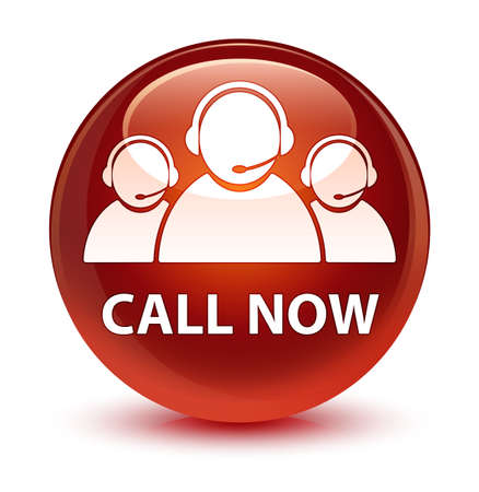 representative: Call now (customer care team icon) isolated on glassy brown round button abstract illustration