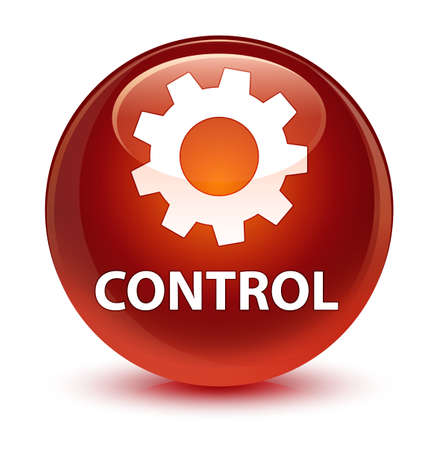 Control (settings icon) isolated on glassy brown round button abstract illustration