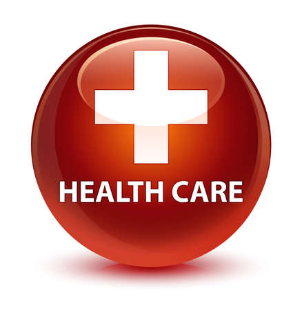 brown: Health care (plus sign) isolated on glassy brown round button abstract illustration