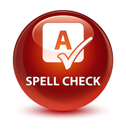 reviews: Spell check isolated on glassy brown round button abstract illustration