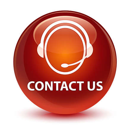 brown: Contact us (customer care icon) isolated on glassy brown round button abstract illustration