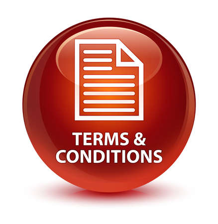 Terms and conditions (page icon) isolated on glassy brown round button abstract illustration