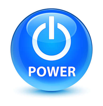 Power isolated on glassy cyan blue round button abstract illustration Stock Photo