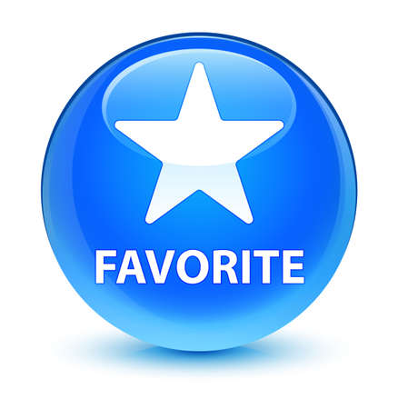 Favorite (star icon) isolated on glassy cyan blue round button abstract illustration