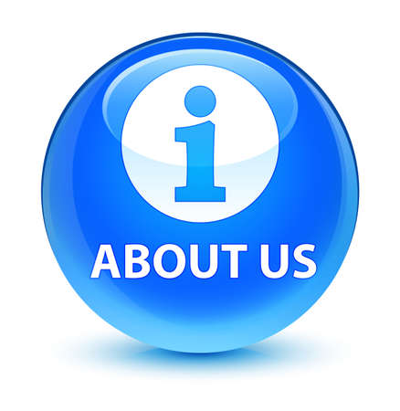 about us: About us isolated on glassy cyan blue round button abstract illustration