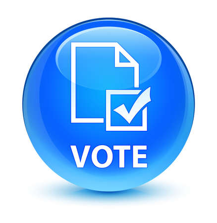 referendum: Vote (survey icon) isolated on glassy cyan blue round button abstract illustration Stock Photo