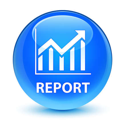bar: Report (statistics icon) isolated on glassy cyan blue round button abstract illustration