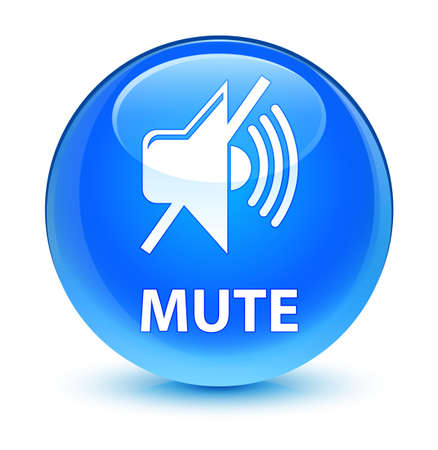 silent: Mute isolated on glassy cyan blue round button abstract illustration