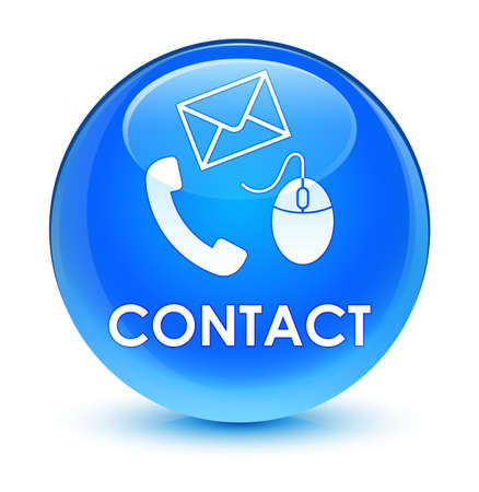 hotline: Contact (phone email and mouse icon) cyan blue isolated on glassy round button abstract illustration