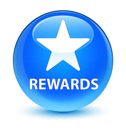 Rewards (star icon) isolated on glassy cyan blue round button abstract illustration