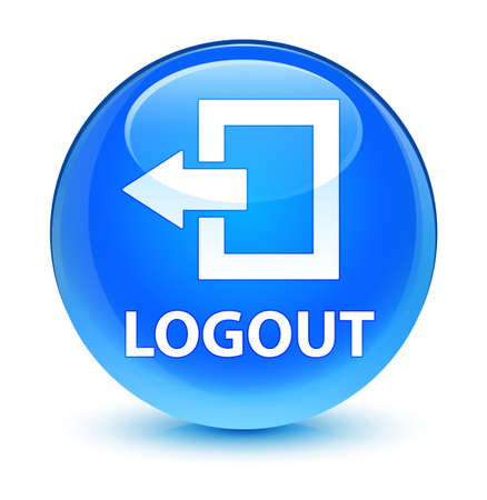 Logout isolated on glassy cyan blue round button abstract illustration