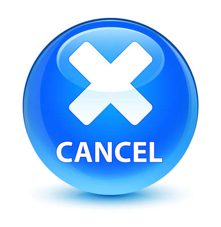 Cancel isolated on glassy cyan blue round button abstract illustration