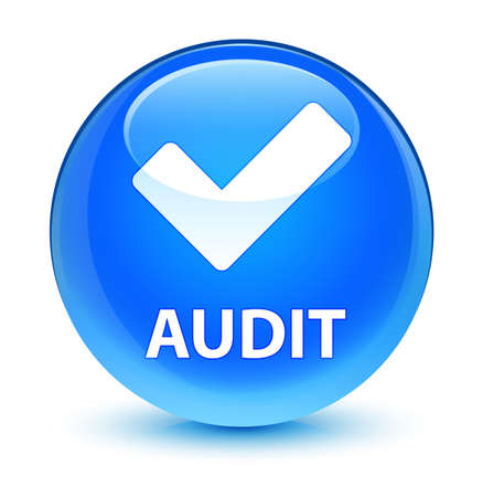 Audit (validate icon) isolated on glassy cyan blue round button abstract illustration