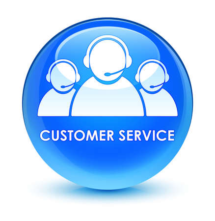 customer service representative: Customer service (team icon) isolated on glassy cyan blue round button abstract illustration