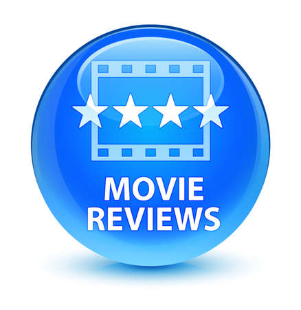 reviews: Movie reviews isolated on glassy cyan blue round button abstract illustration
