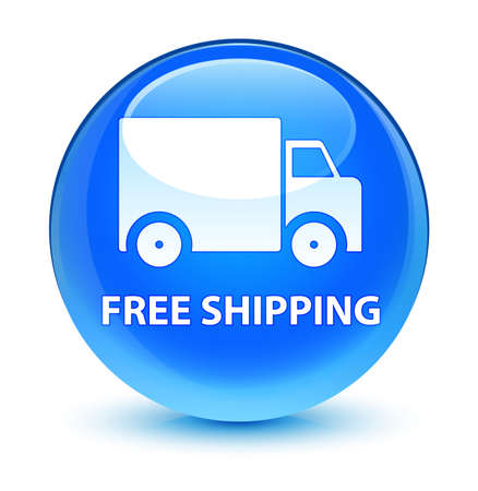 delivery truck: Free shipping isolated on glassy cyan blue round button abstract illustration Stock Photo
