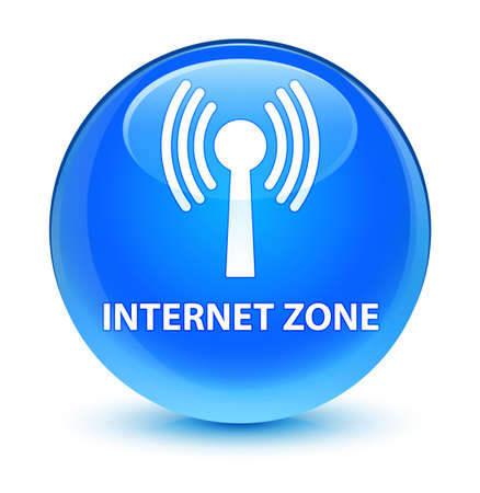 waves: Internet zone (wlan network) isolated on glassy cyan blue round button abstract illustration
