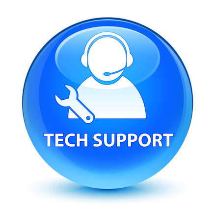 Tech support isolated on glassy cyan blue round button abstract illustration
