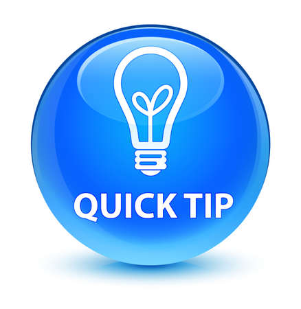 Quick tip (bulb icon) isolated on glassy cyan blue round button abstract illustration Stock fotó