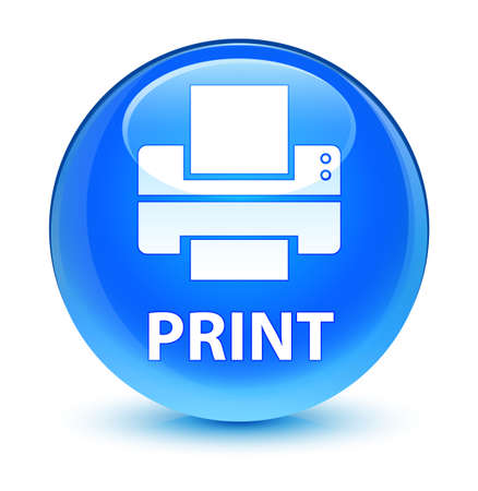 printout: Print (printer icon) isolated on glassy cyan blue round button abstract illustration