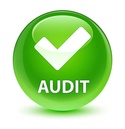 Audit (validate icon) isolated on glassy green round button abstract illustration Stock Photo