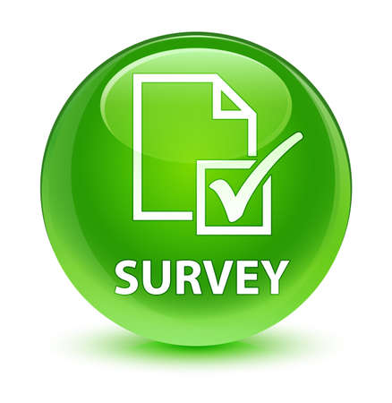 Survey isolated on glassy green round button abstract illustration