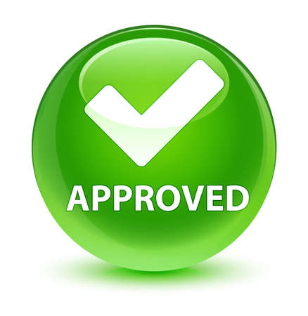 Approved (validate icon) isolated on glassy green round button abstract illustration