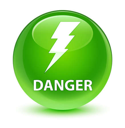 Danger (electricity icon) isolated on glassy green round button abstract illustration Stock Photo