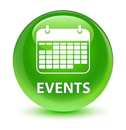 Gebeurtenissen (kalenderpictogram) geïsoleerd op glazige groene ronde knoop abstracte illustratie