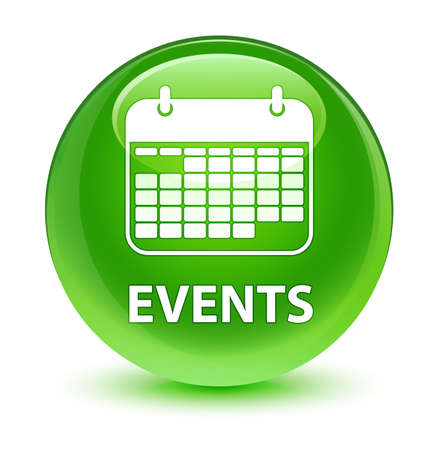 Events (calendar icon) isolated on glassy green round button abstract illustration